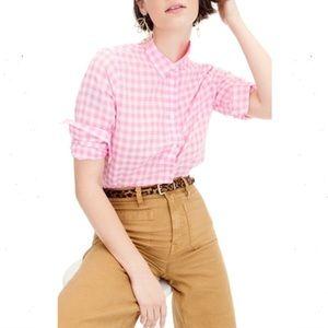 J. Crew Classic Fit Boy Shirt Crinkle Gingham Pink